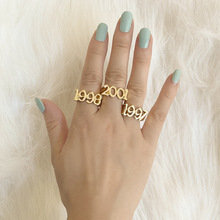 Lost Lady Custom Year Number Ring for Women Simple Gold Rings Female Number Rings Best