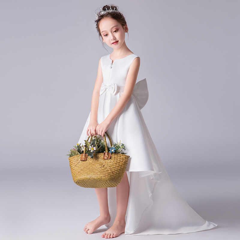 HS келлио платье с цветочным узором для девочек красное вино с бантом атласные свадебные праздничные платья для маленьких девочек