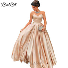 Real Rill Strapless Sweetheart Prom Dresses Solid Color Stain Lace Up Back Floor Length Party Dress