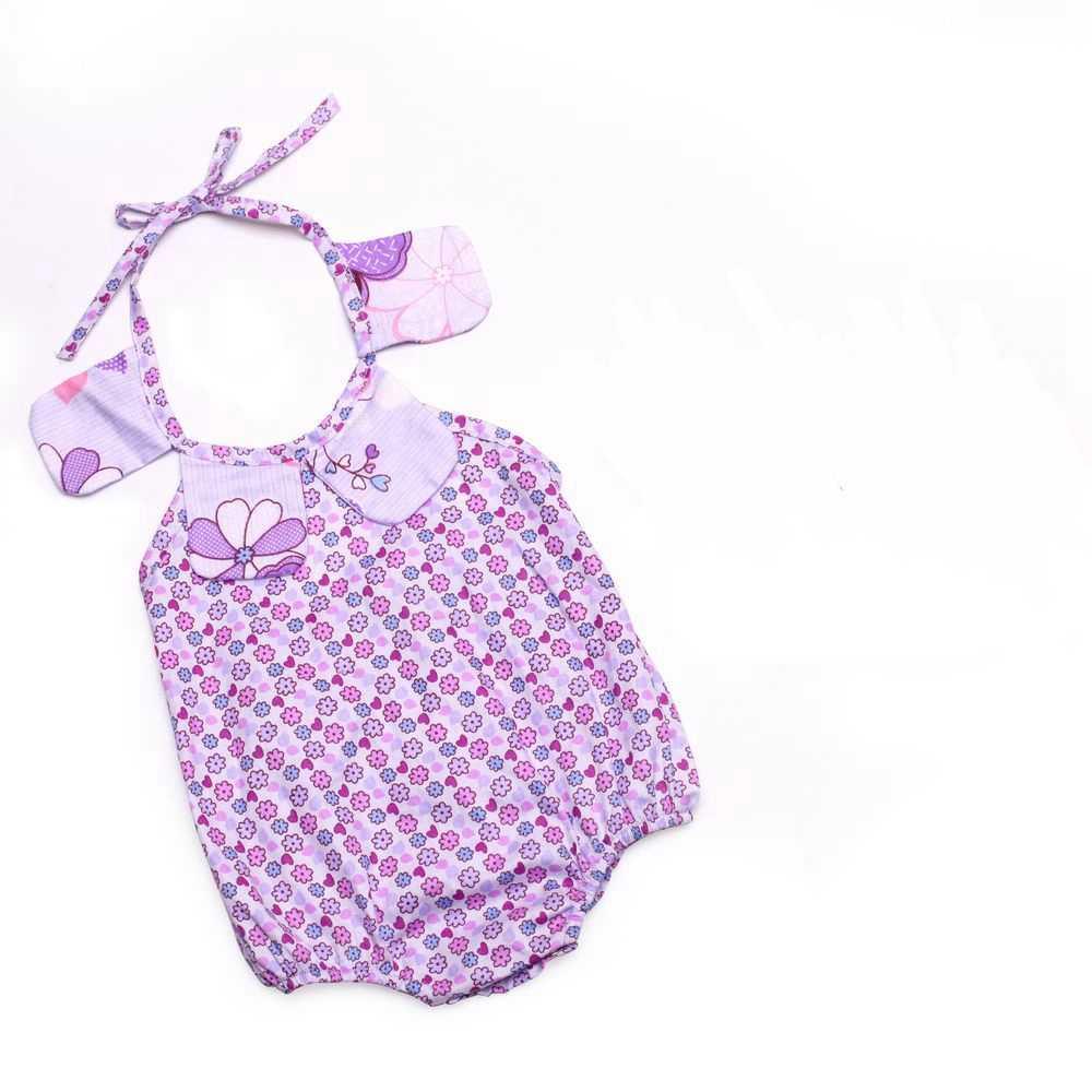De diseño de moda collar floral diseño bebé niñas bebé de algodón mameluco mono onesies cheetach pelele a rayas