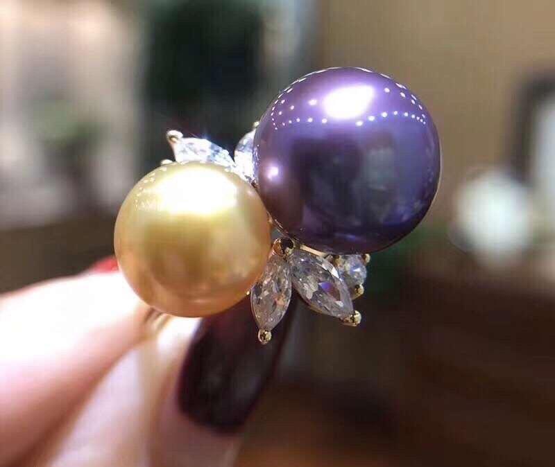 D203 perle anneaux Fine bijoux 925 en argent Sterling naturel eau douce violet Peals 8-10mm anneaux pour femmes fines perles anneaux