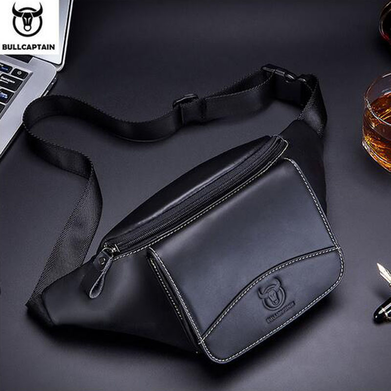 BULLCAPTAIN Cowhide Men Waist Bag Pocket Chest Bags New Retro Male Leather Fanny Bags Sling Chest  Bags