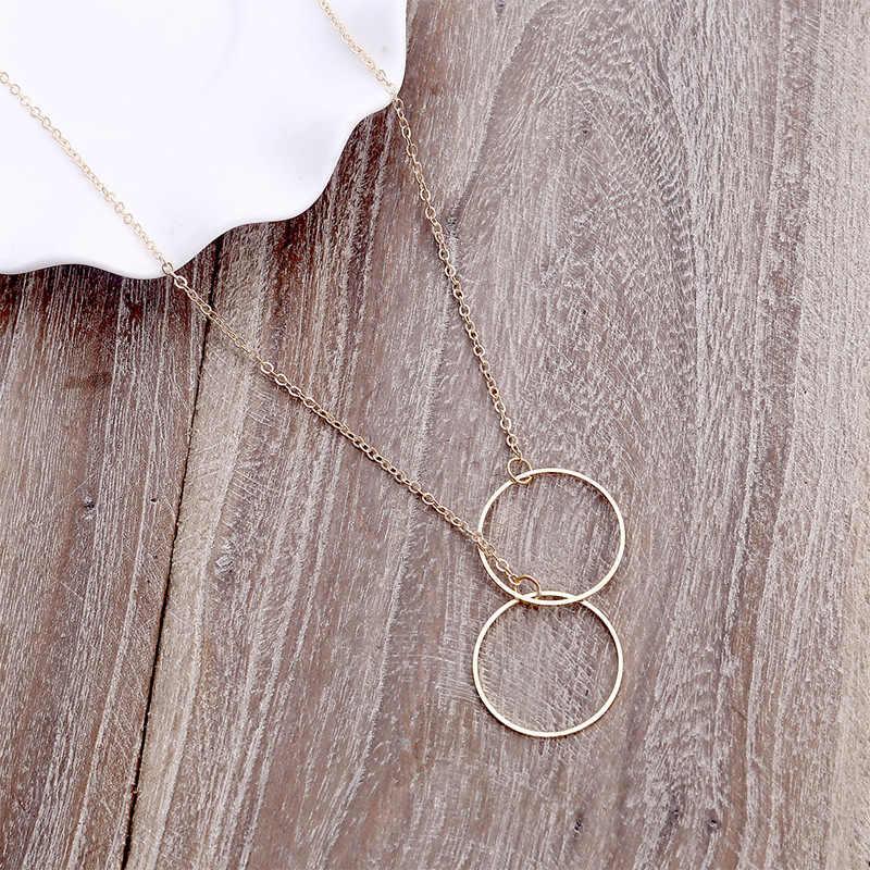 2019 décontracté personnalité Double grand cercle Lariat pendentif couleur or collier de haute qualité Simple tour de cou colliers femmes