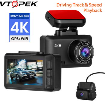 4K Dash Cam Car Camera Dashcam 3840*2160P 30FPS Ultra HD DVR Dual Lens Video Recorder Gesture Photo GPS Tracker Dashcam WiFi APP image