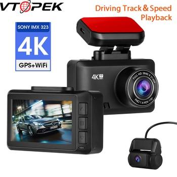 4K Dash Cam Car Camera Dashcam 3840*2160P 30FPS Ultra HD DVR Dual Lens Video Recorder Gesture Photo GPS Tracker Dashcam WiFi APP mini 2 4k 2160p 1080p fhd car dvr dash cam camera 60fps 170 degree car video recorder wifi gps night vision dashcam w rear cam