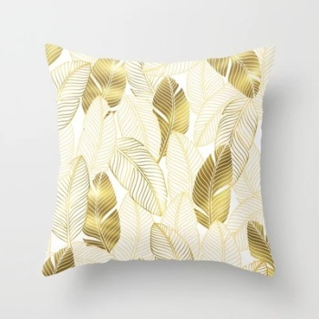 Gold Feathers Tropical Cushion Cover
