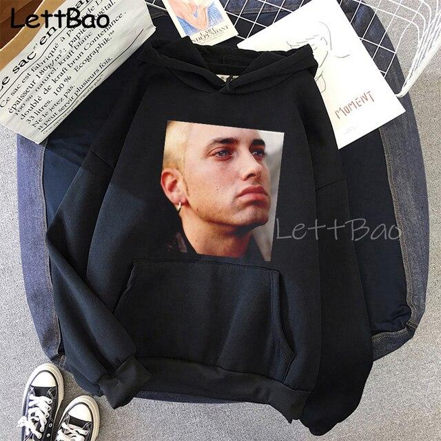 Eminem Cool Black Unisex Hoodies Sweatshirt Hip Hop Rap Punk Style Tops Pullover HipHop Rock Gothic Winter Coat Women Men Hoodie 6