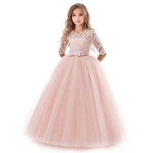 Image 2 - Платья для девочек подростков, для девочек 10, 12, 14 лет, на день рождения, бальное платье с цветами, на свадьбу, Детские Вечерние платья принцесс, детская одежда