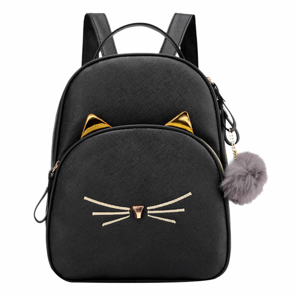 MAIOUMY Small Backpack Women 2019 Cute Cats Shoulder Bag Female Kawaii Fur Ball Crossbody bag for Teenage Girls fashion bag pack