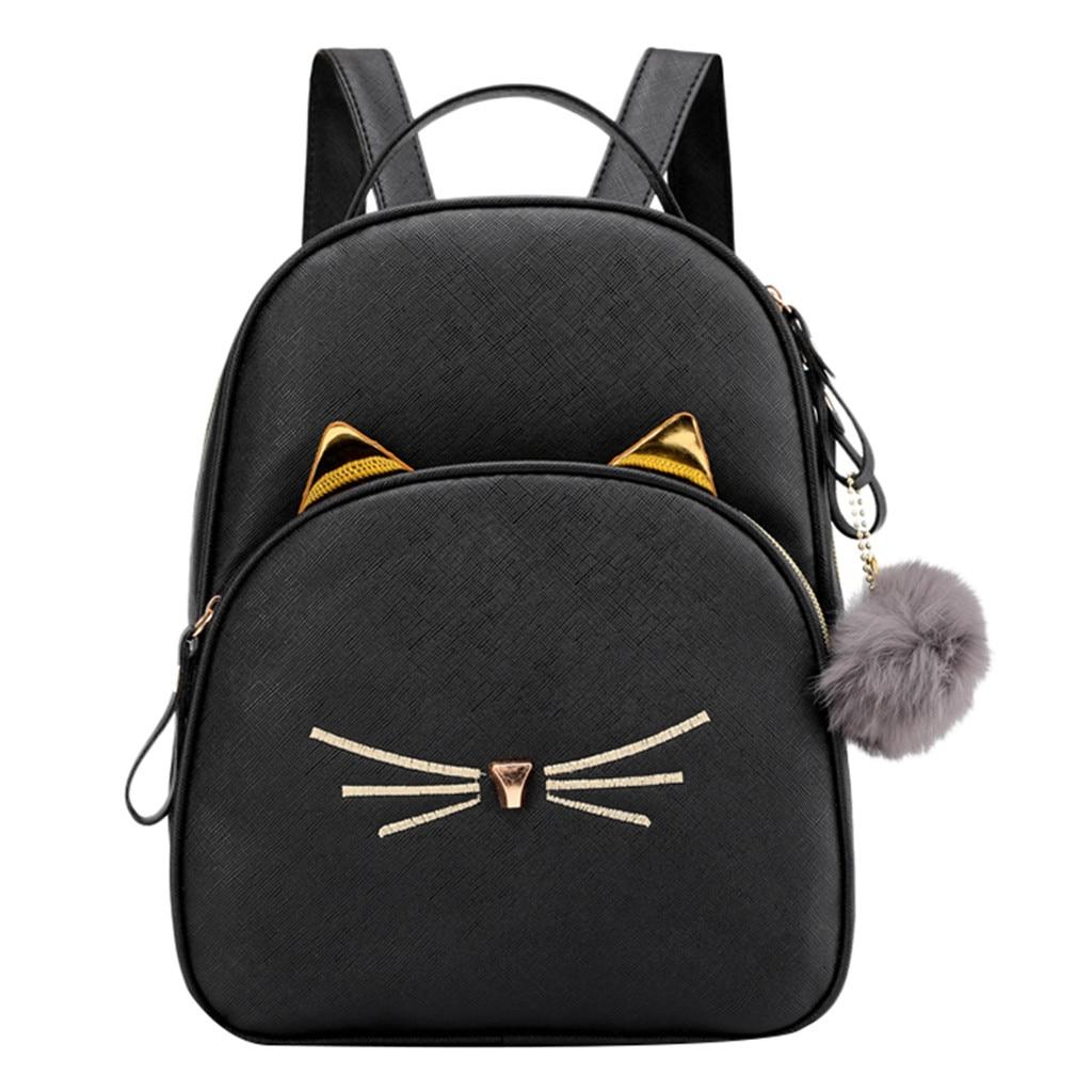 Женский маленький рюкзак MAIOUMY, милая Наплечная Сумка с кошками, женская сумка-Кроссбоди с меховыми помпонами для девочек-подростков, модная сумка, 2020-0