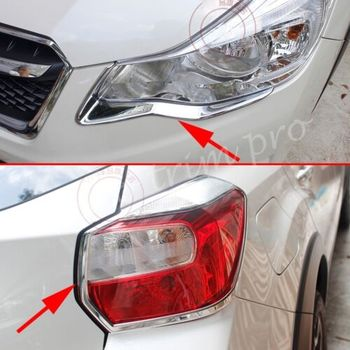 Chrome Head & Rear Tail Light Lamp Cover Trim Fit For Subaru XV Accessories 2012 2013 2014 2015 2016 Decoration ABS style