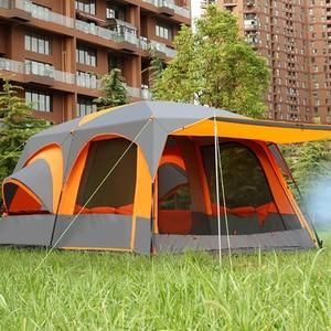Image 3 - Jeden salon dwie sypialnie Ultralarge dwuwarstwowa wodoodporna rodzinna impreza plenerowa namiot kempingowy Barraca duża altanka