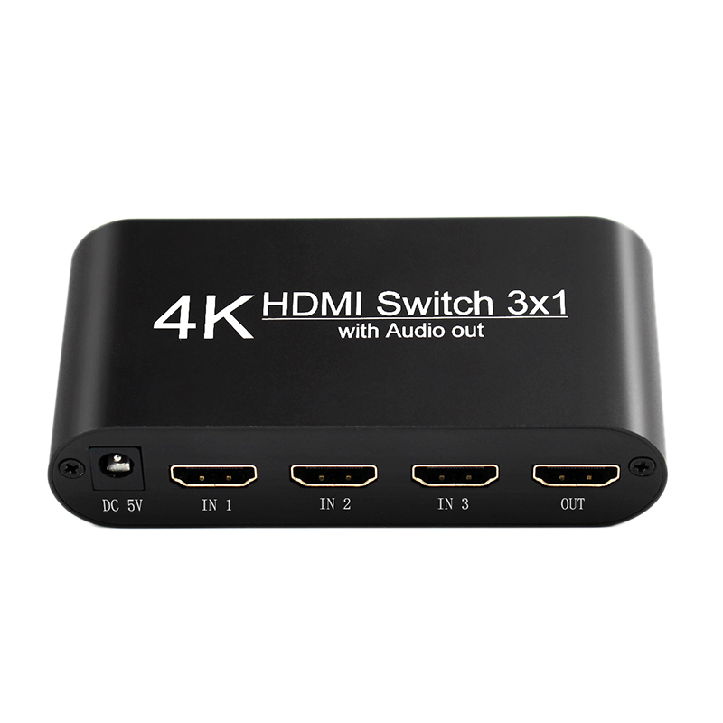 4K HDMI Switch Audio Splitter 3 In 1 Out Extractor Adapter For X B O X 360 PS4 Smart Android HDTV