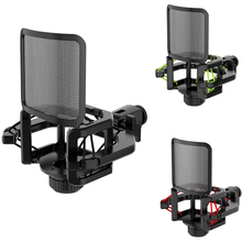 Microphone Shock Mount with Microphone Filter Windscreen Reduce Noise Anti Vibration Screen Stable Easy Install