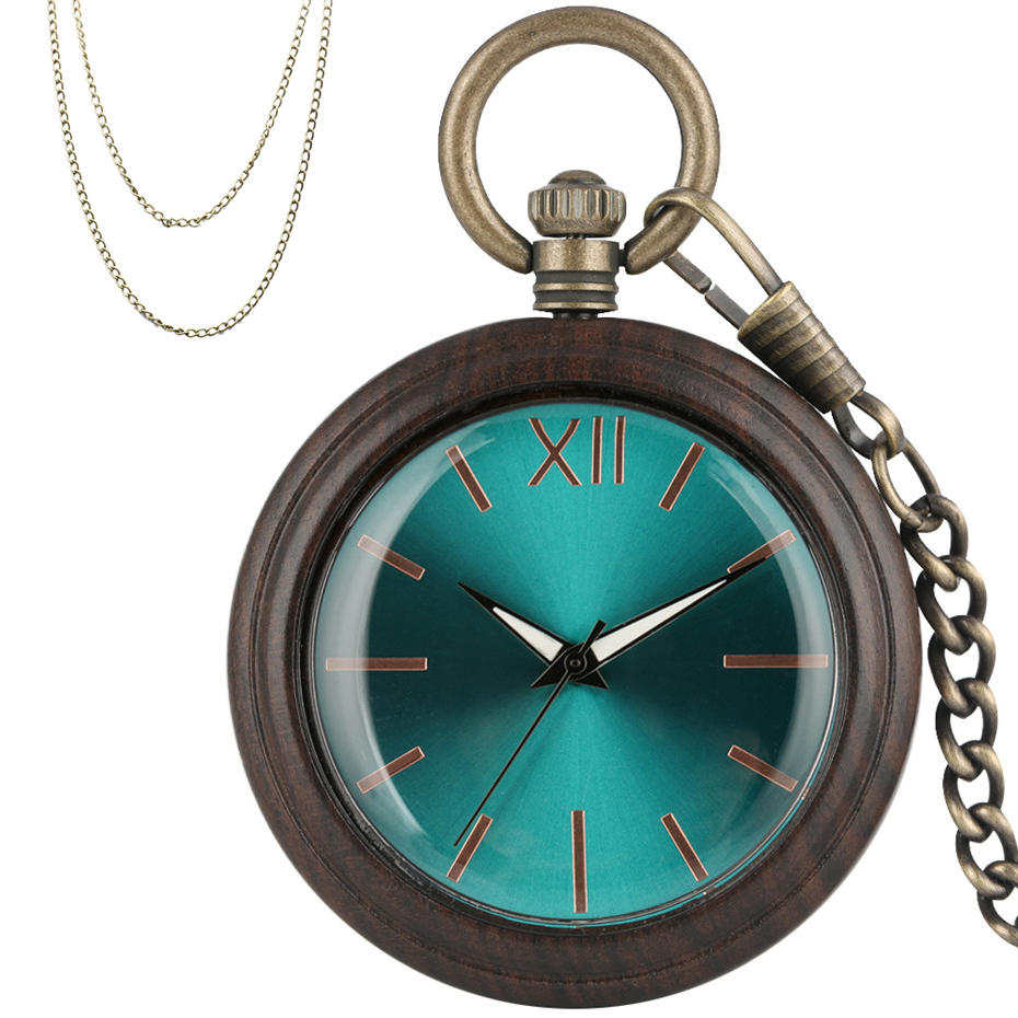 Royal Blue Analog Quartz Pocket Watch Vintage Ebony Wooden Case Luxury Pendant Clock Gifts For Men Women Bronze Pocket Chains
