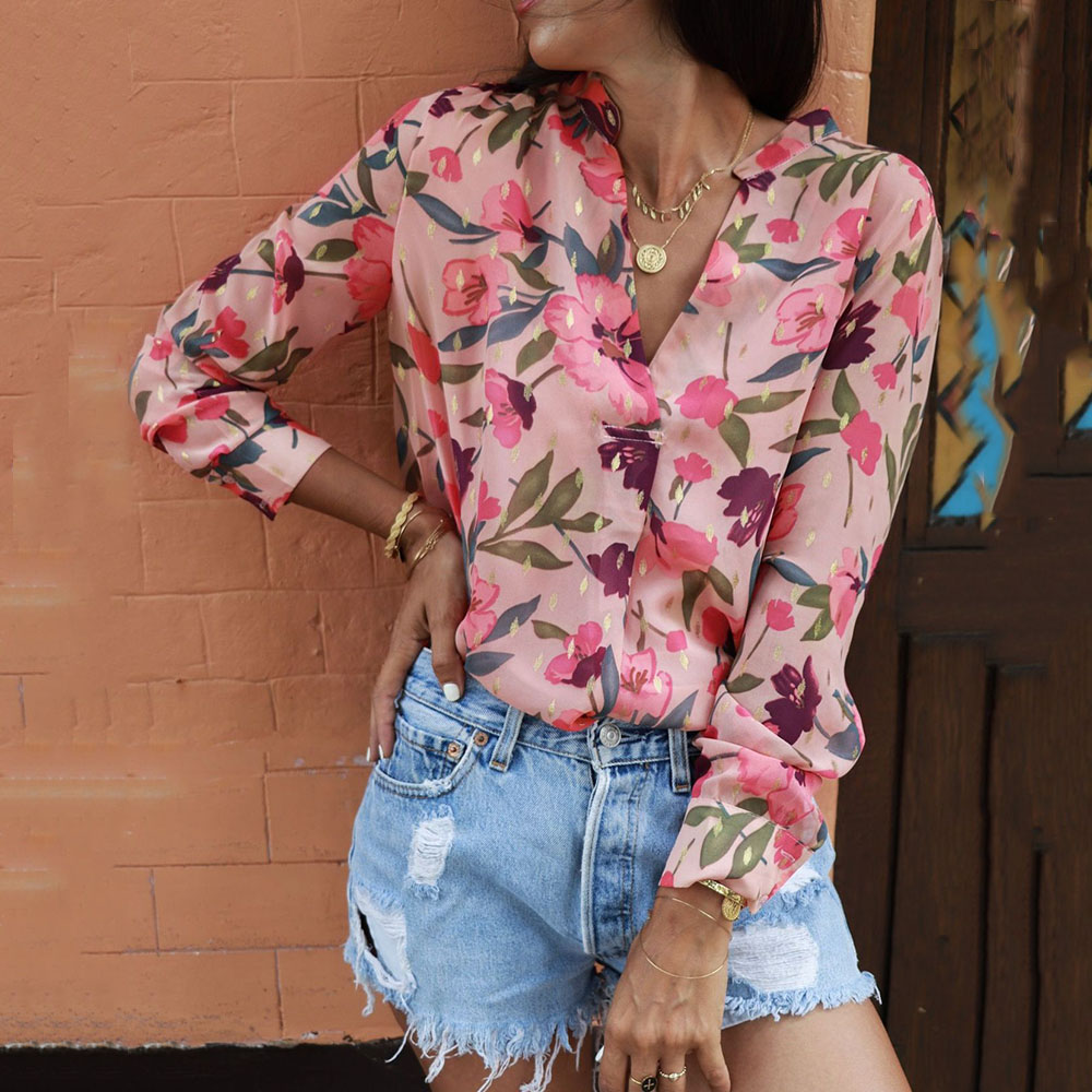 Spring Summer Women Sunscreen Blouses Vintage Long Sleeve V-neck Button Shirts Female Beach Tops Travel Look Floral Blouses
