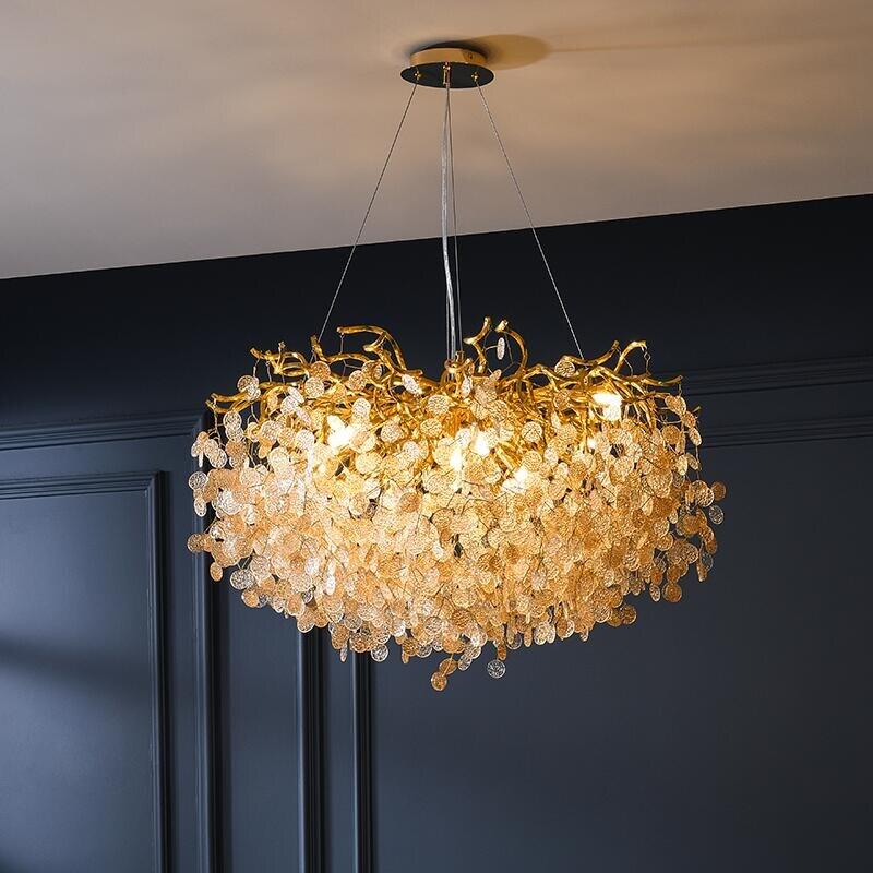 French crystal chandelier romantic golden living room dining room decoration lamp custom hotel project lightingChandeliers   -
