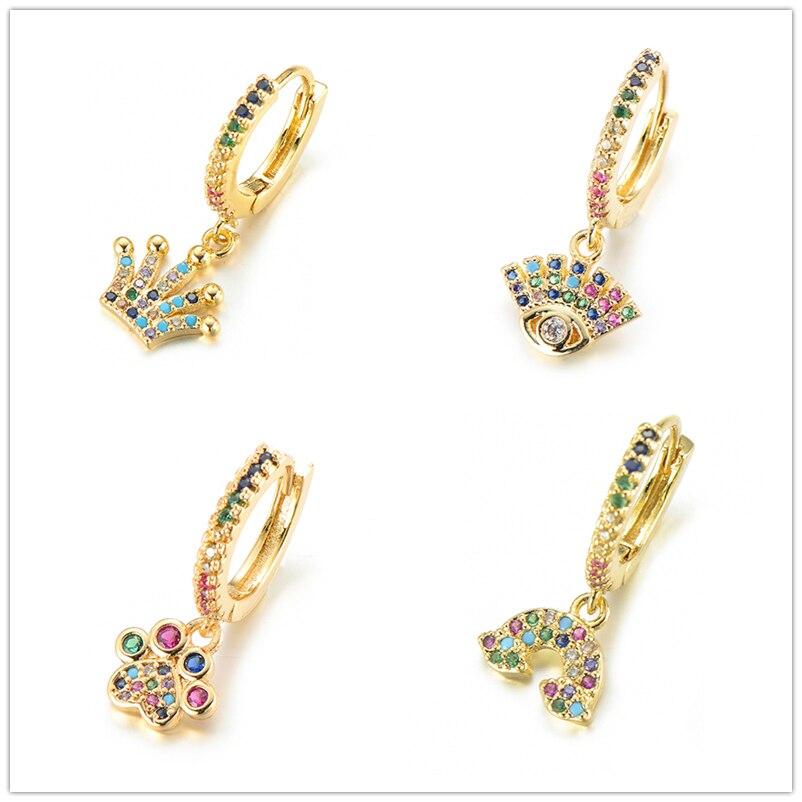 Pipitree 1 PCS CZ Zircon Hoop Earrings Women Heart Hamsa Hand Elephant Crown Evil Eye Small Loop Earrings Hoops Wedding Jewelry