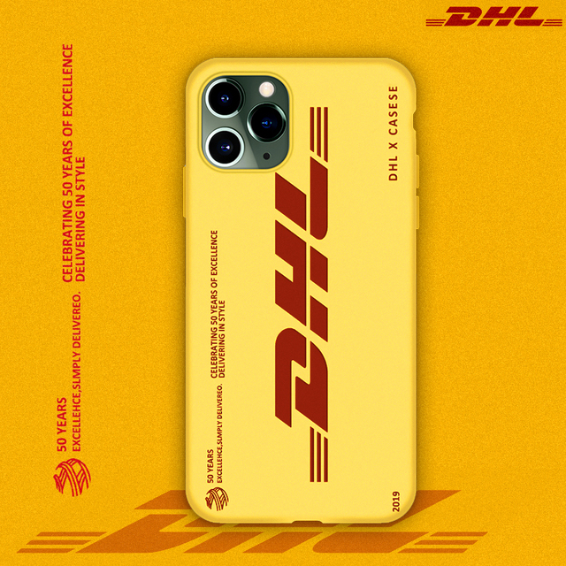 Hot DHL Express 50th Anniversary Edition Label case for iPhone 12 11 Pro X XS MAX 7 8 plus luxury 3D Scrub soft silicon cover 3