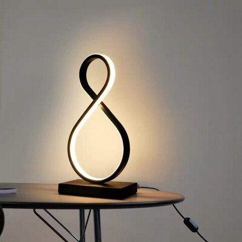 moderna lampada mesa led quarto leitura