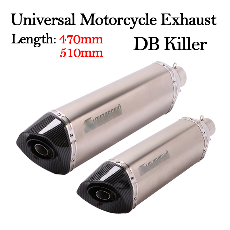 Slip On 470MM 570MM Universal Motorcycle Exhaust Pipe Escape Muffler Removable DB Killer 51MM For R3 Z900 TRK502 CBR500 CBR1000