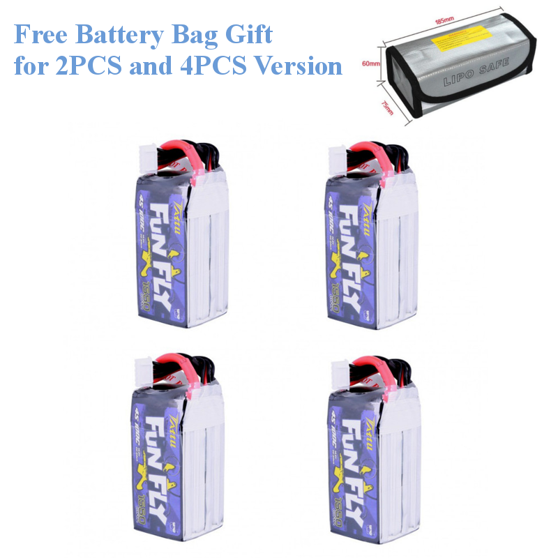 4PCS Funfly TATTU 14.8V 1550mAh 1300mAh 100C <font><b>4S</b></font> XT60 Plug <font><b>Lipo</b></font> Battery for Emax HAWK 5 RC Drone FPV Racing image