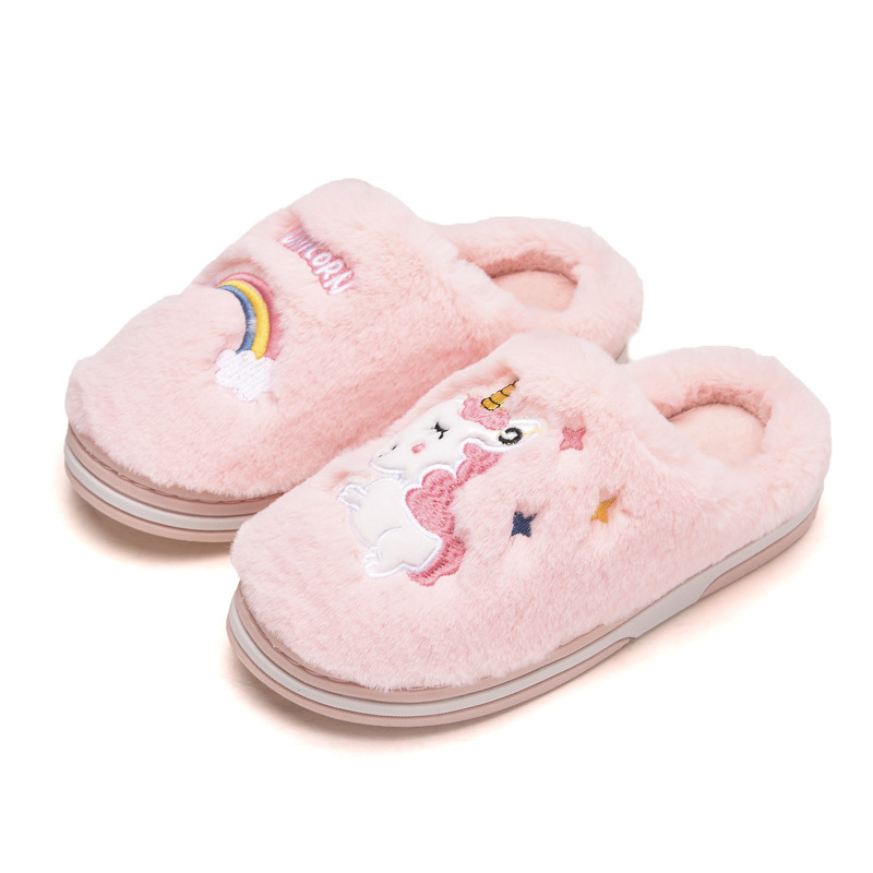 Unicorn Horse Rainbow Children Slippers Women Girls Men's Shoes Kids Home Footwears Flip-Flops Skid-Resistance Parent-Child Sets