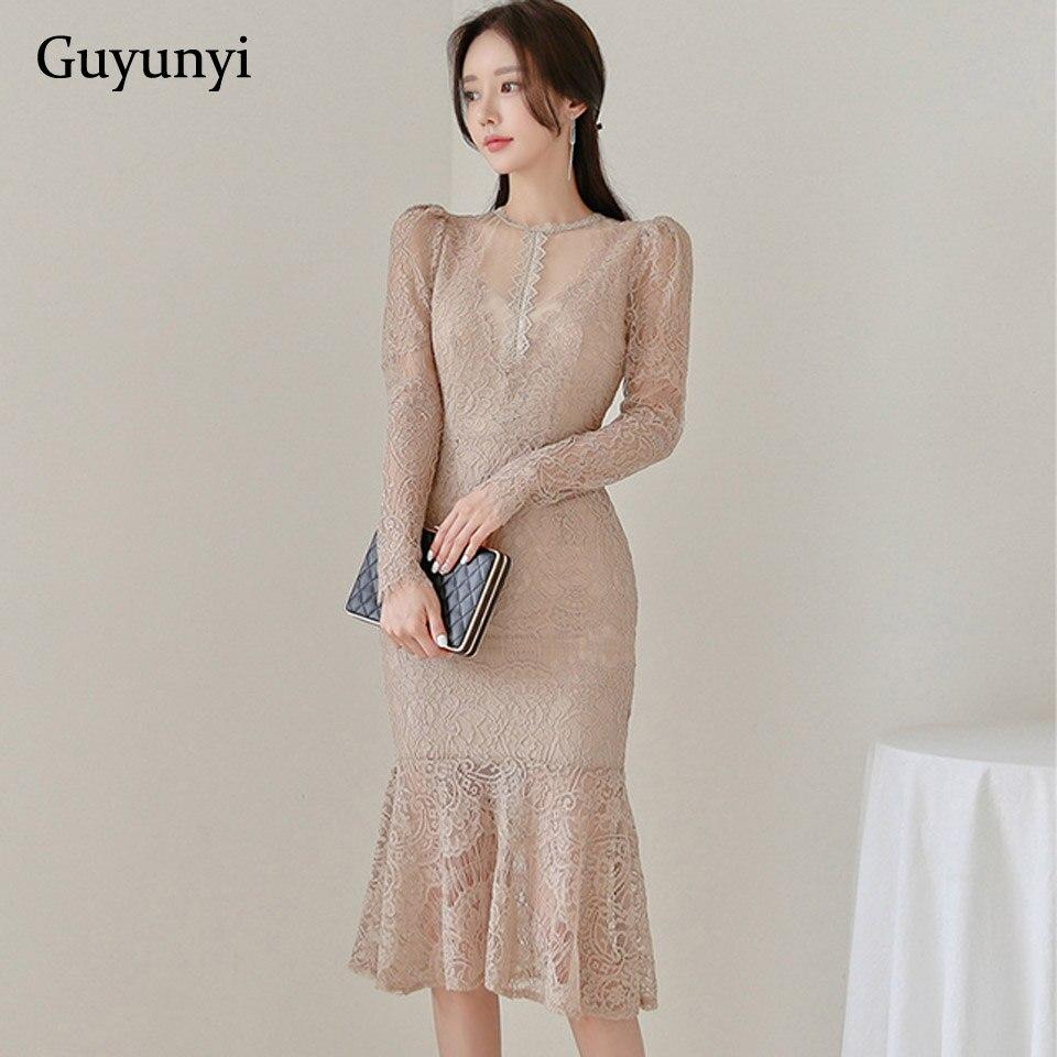 Plain Color Office Lady Dress 2019 Autumn Slim Fit Fishtail Hem Sexy Lace Dress Simple Comfortable Elegant Party Dress Women
