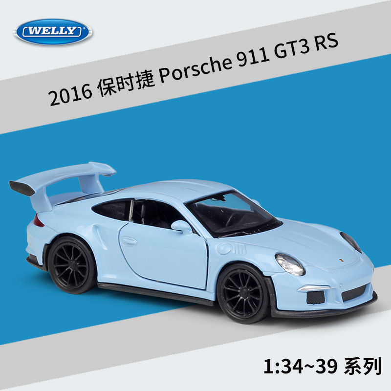 Welly 1:36 2016 Porsche 911 GT3 RS Alloy Car Model Pull-back Vehicle Collect Gifts Non-remote Control Type Transport Toy