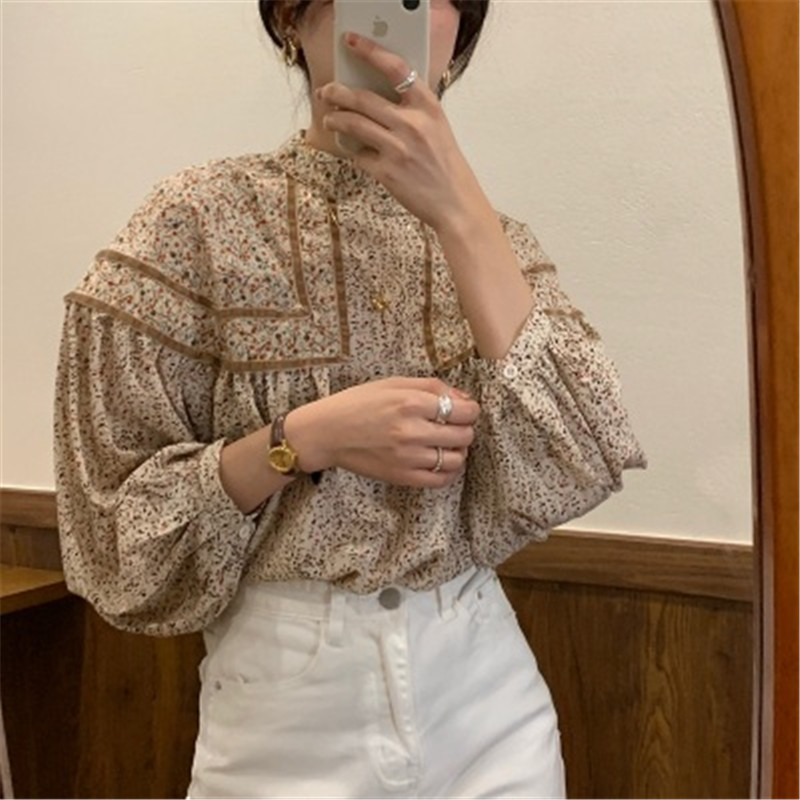 Alien Kitty Floral Gentle Hot Sweet Retro Women Shirts Lantern Long sleeves Patchwork 2020 New Arrivals Elegance Female Blouses