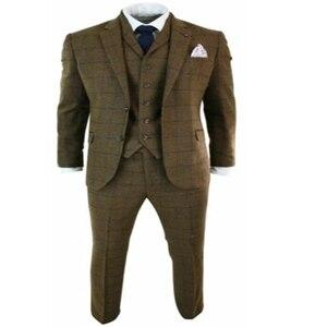 Image 5 - 2020 New Mens Herringbone Tweed Tan Brown Check 3 Piece Wool Suit Peaky Blinders Navy Two Button Notch Lapel Mens Suits