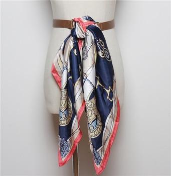 Las mujeres ajustan la bufanda de seda cinturón largo estampado empalmado cinturón mujer cintura moda Pu cuero Cummerbunds Otoño Invierno 2019 nuevo SW124