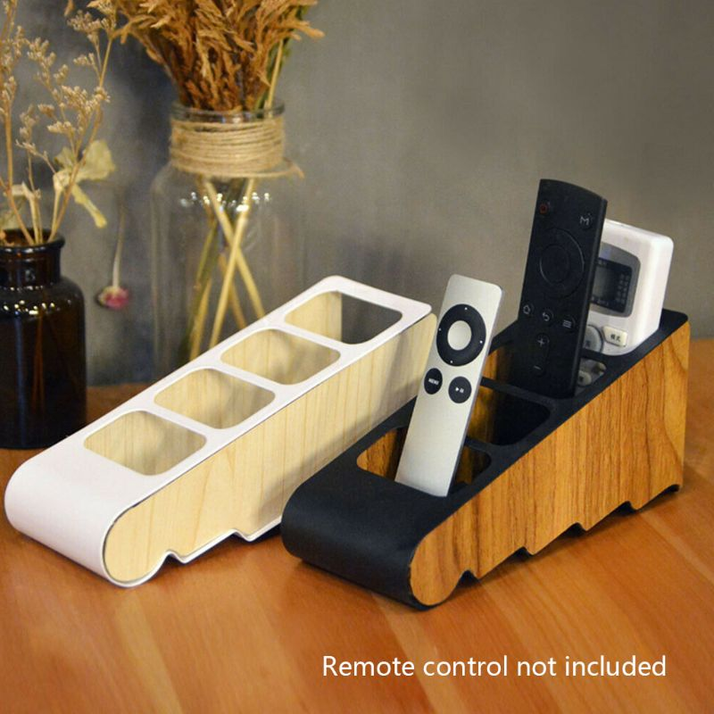 OOTDTY Remote Control Holder Desktop Four Grid Wooden Storage Box Compartment Stationery Store Office Organizer Office Supplies