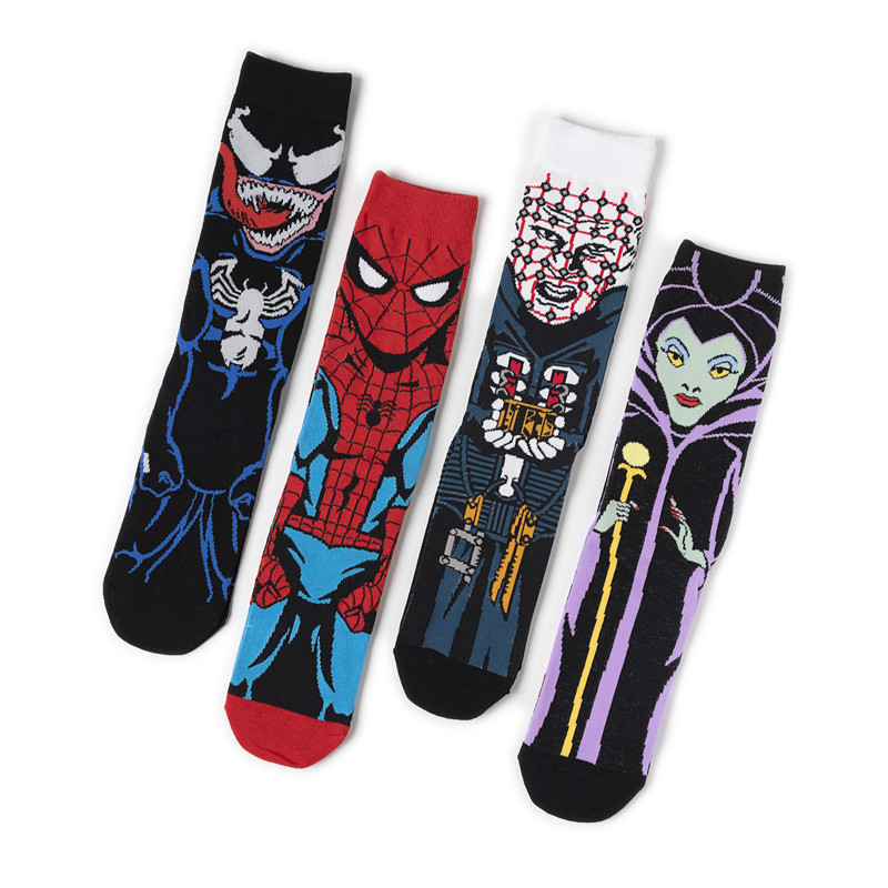Anime Maleficent Spider-Man Cosplay Accessories Venom Spiderman Sock Child Adult Cotton Street Sports Stockings Ankle Socks Gift