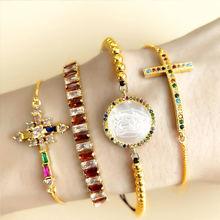 ZHONGVI Girl CZ Rainbow Shell Tennis Bracelet Gold Beach Jewelry 24K Gold Rainbow Cross Bracelet emanarios pulsera цена 2017