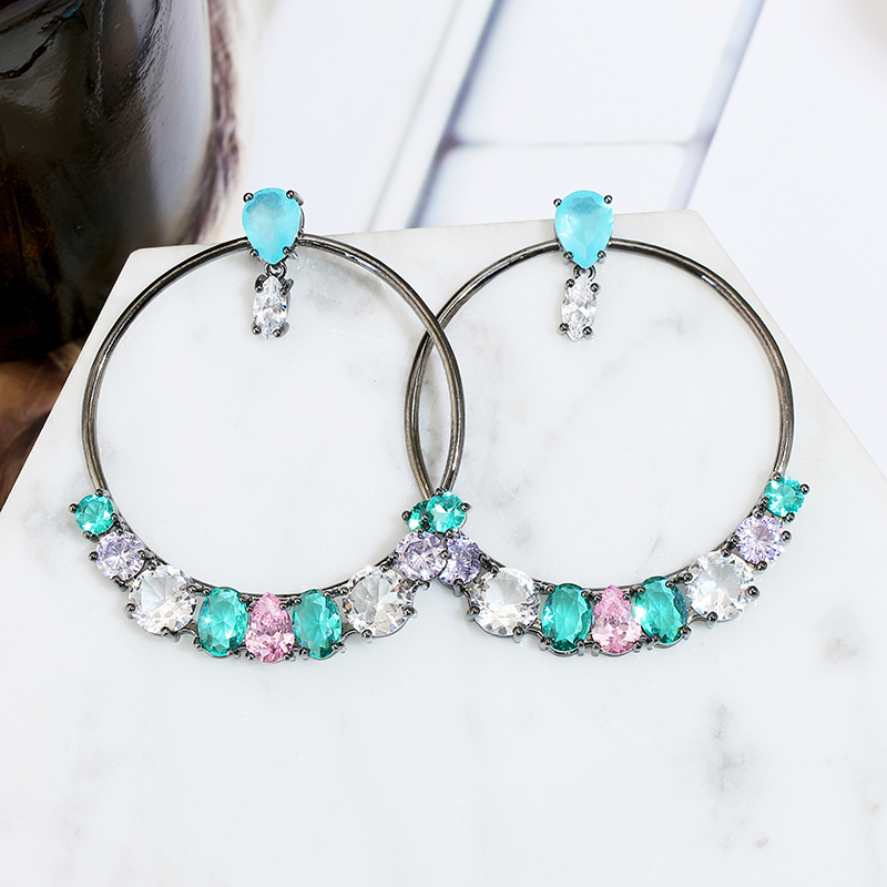 VERY GIRL Exaggeration Hollow Round Big Circle  Earrings Luxury AAA Cubic Zircon for Wedding Party