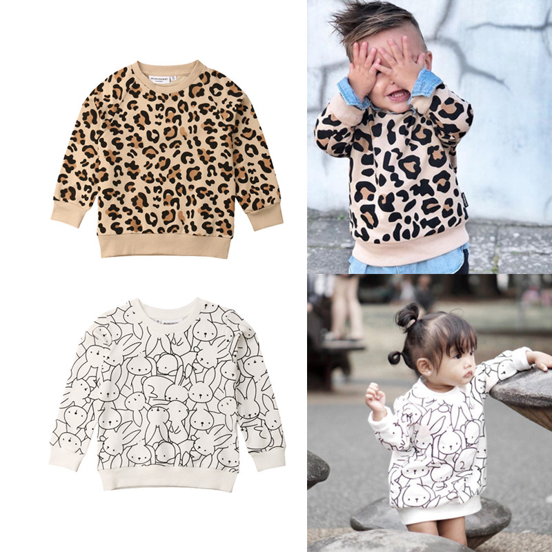 Pudcoco Toddler Kids Baby Girl Boy Leopard Rabbit Hoodie Top Sweatshirts Cotton Clothes High Quality For 1 To 7years Children