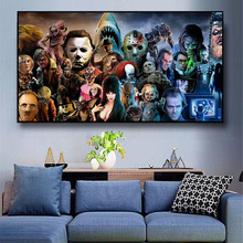 Horror Film Thriller Character Collection Canvas Wall Art Painting On Wall Decor Poster And Prints Picture For Living Room Decor michael jordan dunk pose poster and prints basketball superstar wall picture on canvas wall art painting for living room decor