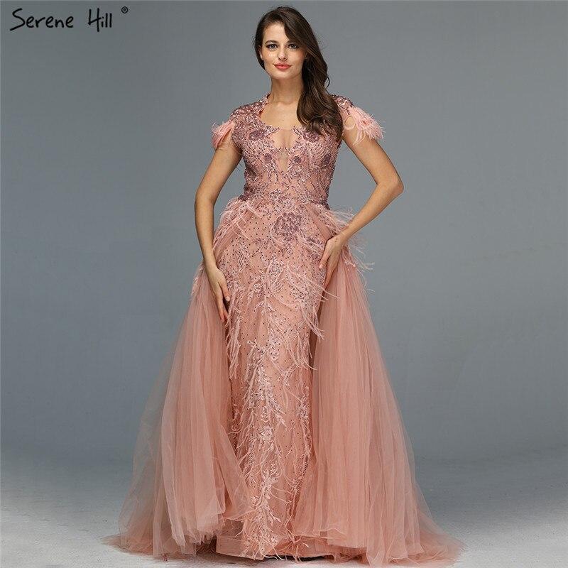 Muslimischen Grau Lange Ärmel Tüll Abendkleider 2019 Oansatz Handgemachte Blumen Perlen Mode Abendkleider LA60898