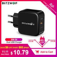 BlitzWolf QC3.0 + 2.4A 30W double chargeur USB téléphone portable chargeur rapide adaptateur ue voyage chargeur mural pour iphone 8 8plus X