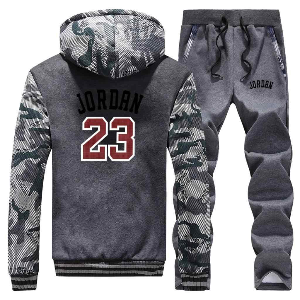 Erkek ceket + pantolon Jordan 23 baskılı Hoodies erkekler kalın sıcak fermuar Coats sonbahar kış kamuflaj askeri eşofman erkek Hoodie