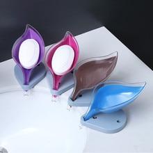 Box Soap-Box Bathroom Silicone Plate-Tray Dish-Storage Drainage Leaf-Shape Plastic Non-Slip
