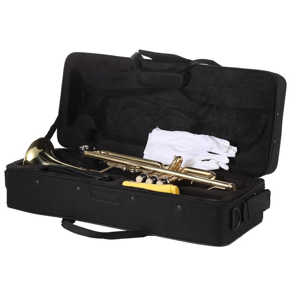 Ammoon Bb труба плоская латунь позолоченный Изысканный прочный музыкальный инструмент с мундштуком перчатки ремень Чехол - 4