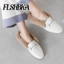 Fashion ladies slip on mules Square Toe Low Heels genuine leather Women Warm shoes With Fur For Sweet Girl office Woman shoes