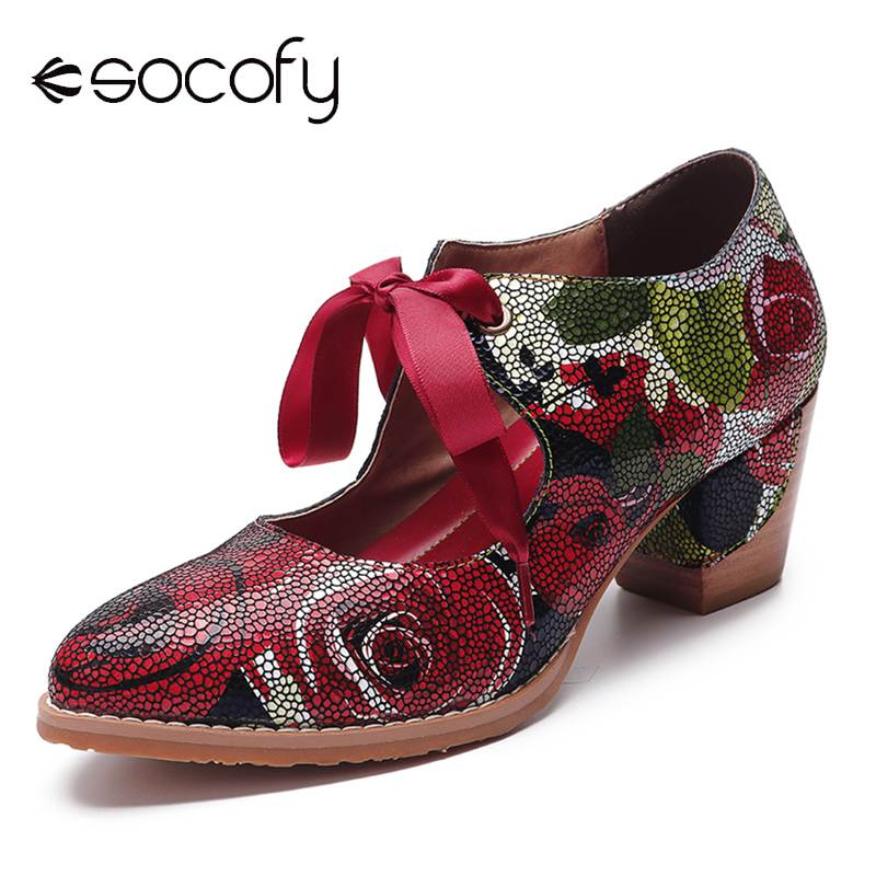 SOCOFY Super Comfortable Bloom Rose Pumps Stitching Lace Up Casual Shoes Women Dress Leather Pumps For Women 2020 Ladies Shoes