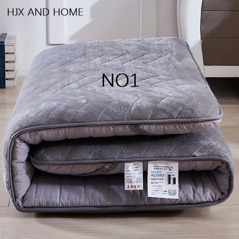 Comfortable coral fleece fabric sponge-filled winter resistant to cold mattresses Foldable mats King Queen Twin Full Size bed product