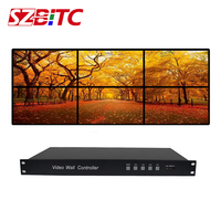 SZBITC 6 Channels Video Wall Processor 2x3 3x2 2x2 HDMI VGA USB Audio Video Controller 180 Rotation 1080P@60Hz for 6 TV Splicing