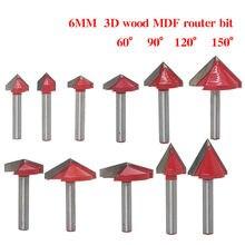 1 pçs 6mm v bit cnc carboneto sólido fresa de tungstênio madeira cortador madeira 3d mdf roteador bit 60 90 120 150 graus