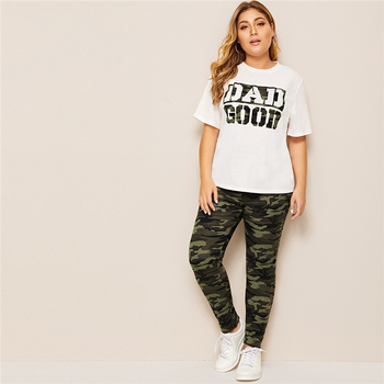 Plus Size Camouflage Green Slogan Print Tee and Leggings