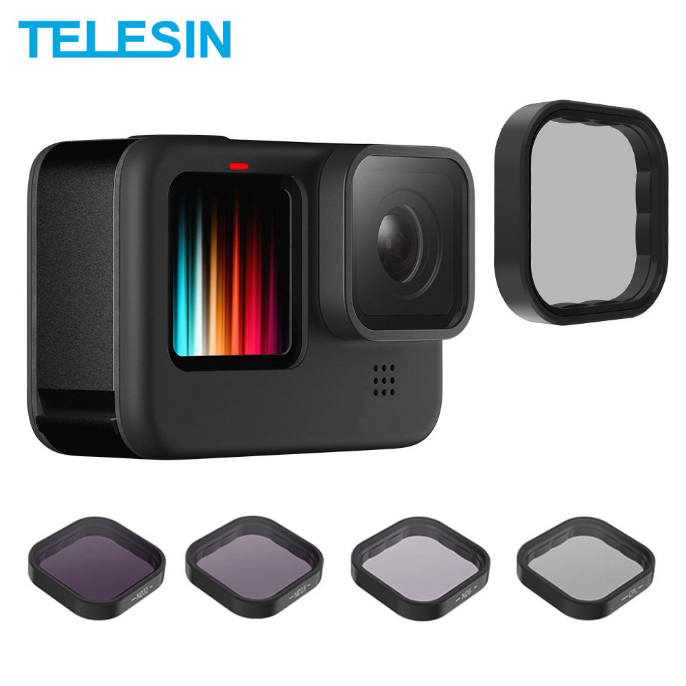 Набор фильтров для объектива TELESIN ND8 ND16 ND32 CPL, рамка из алюминиевого сплава для экшн-камеры GoPro Hero 9, аксессуары для объектива ND CPL